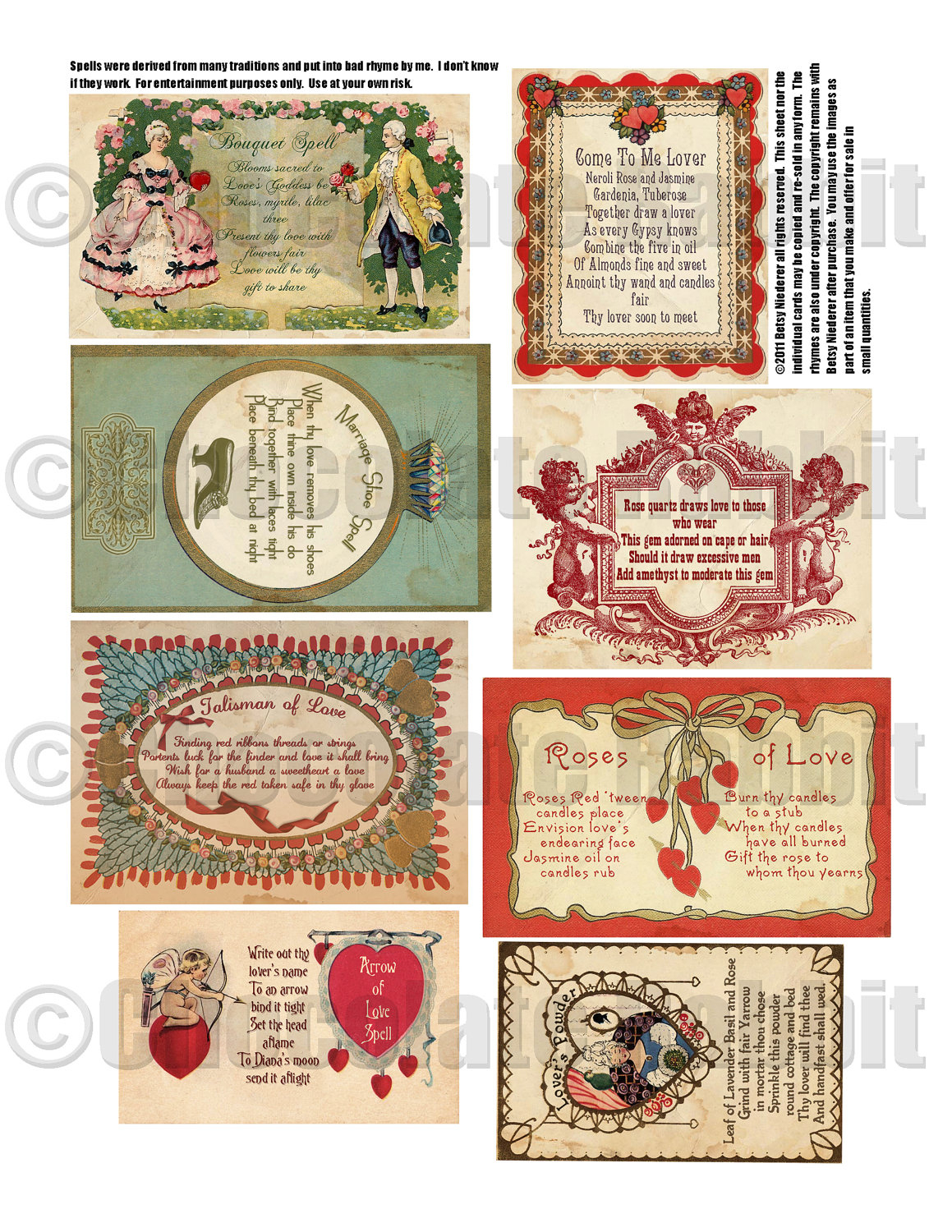 Schön Vintage Valentine Love Spell Cards Digital Download Collage Sheet Vintage  Prim Style High Resolution