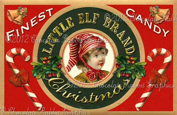 Christmas Vintage Tag Printable Label Little Elf Digital Collage Sheet Graphics Scrapbook Image