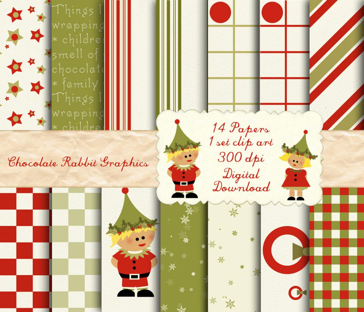 Christmas Digital Scrapbook Clip Art 14 12x12 Paper Pack Download Elf Holiday Papers Plus Clip Art